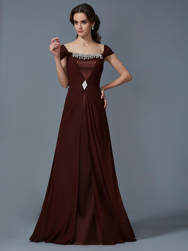 A-Line/Princess Strapless Short Sleeves Dress with Long Chiffon