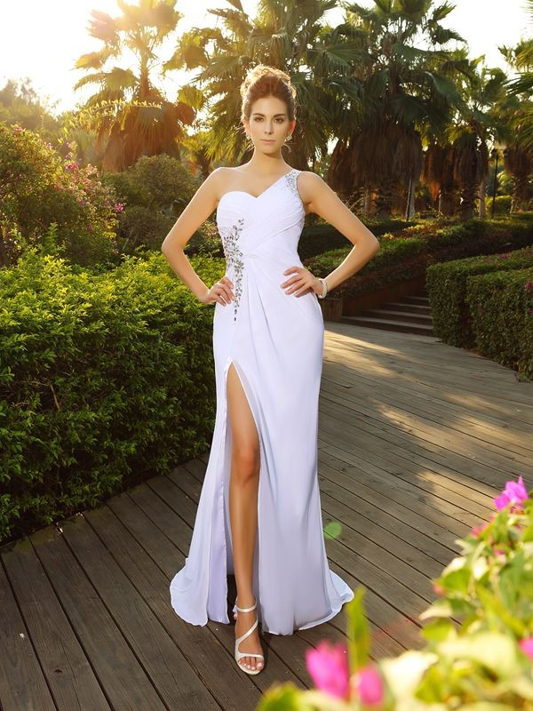 A-Line/Princess One-Shoulder Beading Wedding Dress with Long Chiffon