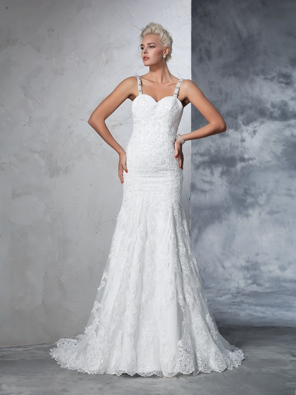 Trumpet/Mermaid Spaghetti Straps Lace Lace Wedding Dress