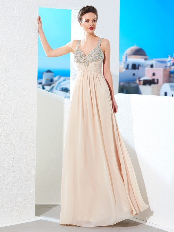 A-Line/Princess Spaghetti Straps Floor-Length Chiffon Dress