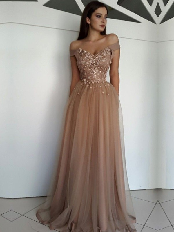 A-Line/Princess Sleeveless Off-the-Shoulder Long Tulle Dress