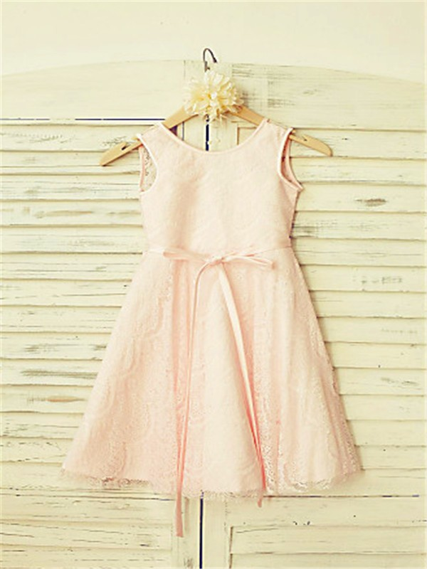 A-line/Princess Scoop Sash/Ribbon/Belt Tea-Length Flower Girl Dress with Lace