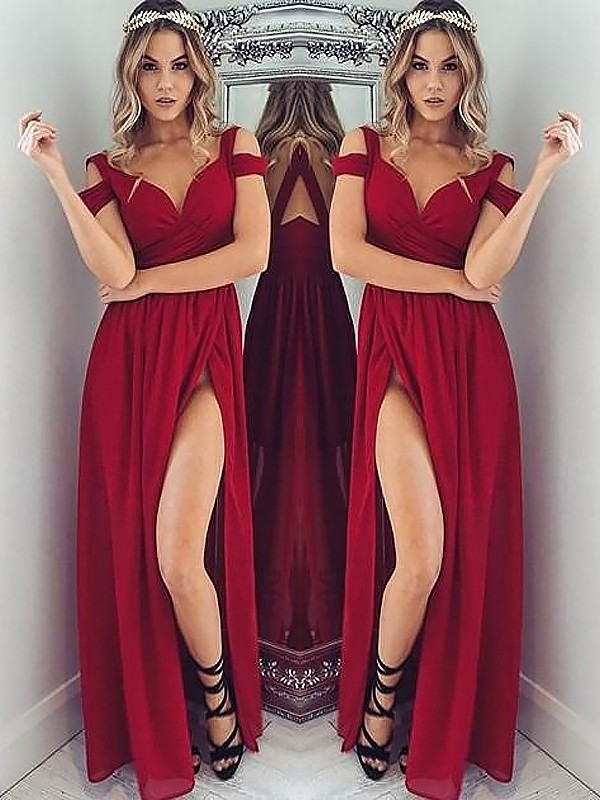 A-Line/Princess Off-the-Shoulder Floor-Length Ruched Chiffon Dress