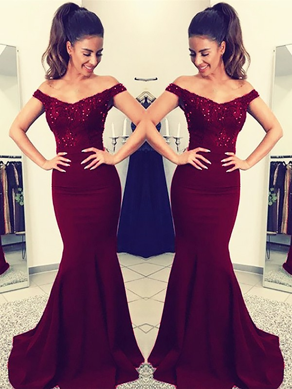 Trumpet/Mermaid Off-the-Shoulder Sweep/Brush Train Satin Dress with Lace