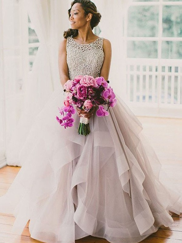 Ball Gown Scoop Sweep/Brush Train Tulle Wedding Dress