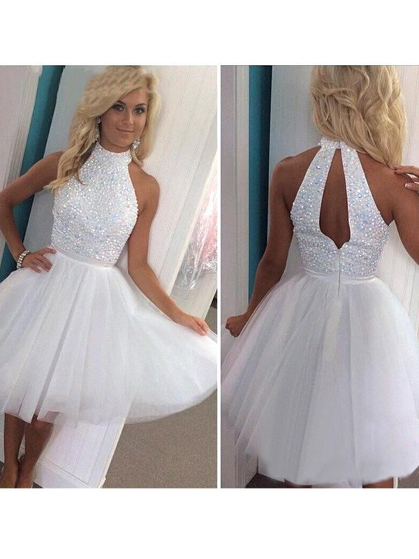 A-Line/Princess Halter Tulle Short/Mini Dress