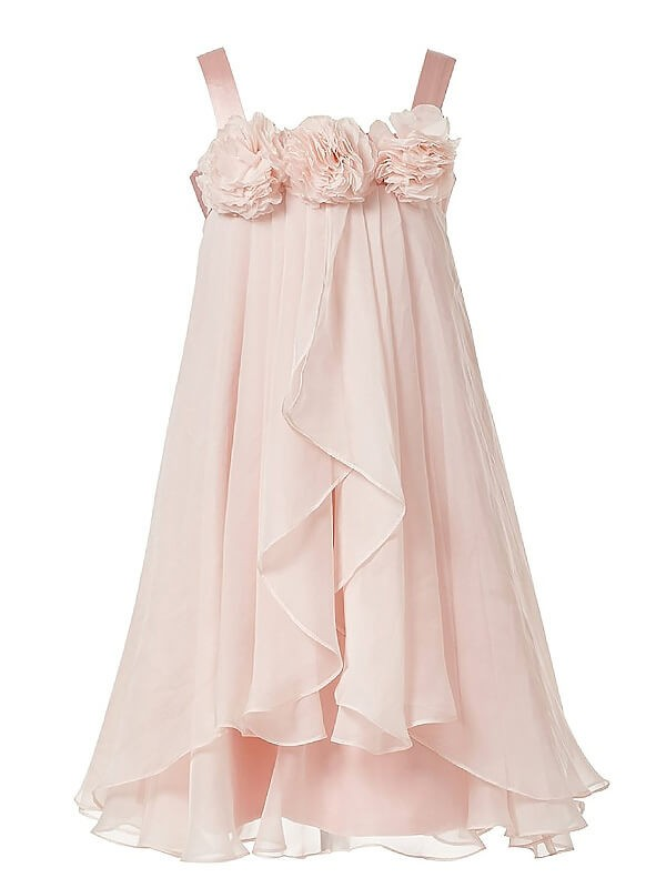 A-Line/Princess Straps Hand-Made Flower Chiffon Ankle-Length Flower Girl Dress