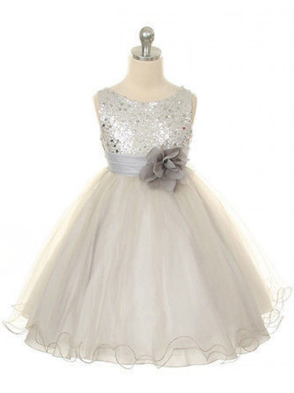 Ball Gown Jewel Hand-Made Flower Long Organza Dress