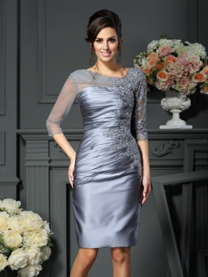 Sheath/Column Scoop Beading 1/2 Sleeves Short Satin Mother of the Bride Dress