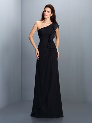 Sheath/Column One-Shoulder Pleats Bridesmaid Dress with Long Chiffon
