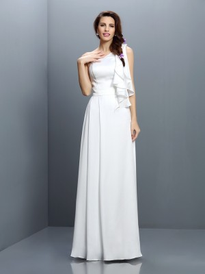 A-Line/Princess One-Shoulder Ruffles Bridesmaid Dress with Long Chiffon
