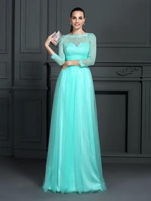 A-Line/Princess Bateau Lace Long Elastic Woven Satin Dress