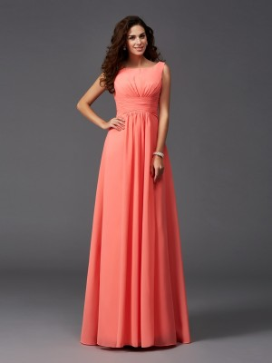 A-Line/Princess Scoop Ruffles Chiffon Bridesmaid Dress