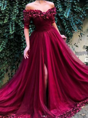 A-Line/Princess 1/2 Sleeves Off-the-Shoulder Sweep/Brush Train Ruffles Tulle Dress