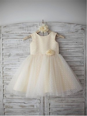 A-line/Princess Scoop Hand-made Flower Tea-Length Tulle Flower Girl Dress