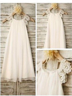 A-line/Princess Scoop Ankle-Length Chiffon Flower Girl Dress with Lace