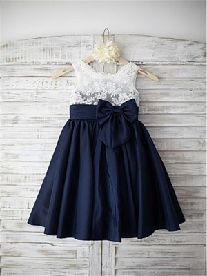 A-line/Princess Straps Bowknot Tea-Length Chiffon Flower Girl Dress