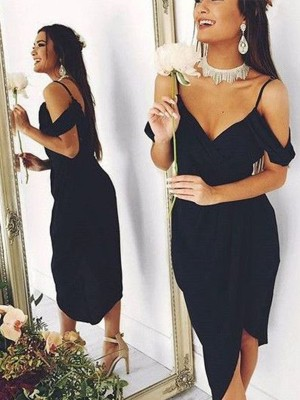 Sheath/Column Spaghetti Straps Spandex Asymmetrical Dress