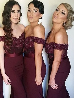 Sheath/Column Off-the-Shoulder Sweep/Brush Train Lace Satin Bridesmaid Dress