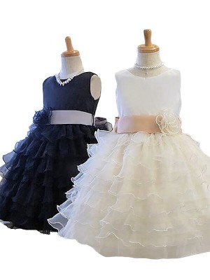 A-Line/Princess Jewel Hand-Made Flower Tulle Short/Mini Flower Girl Dress
