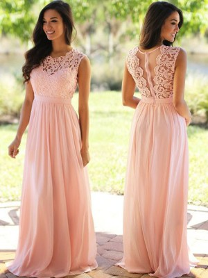 A-Line/Princess Scoop Applique Floor-Length Chiffon Dress