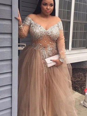 Ball Gown Off-the-Shoulder Sequin Tulle Floor-Length Dress