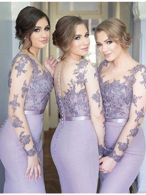 Trumpet/Mermaid Scoop Long Sleeves Jersey Floor-Length Bridesmaid Dress