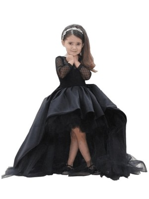 Ball Gown Scoop Sash/Ribbon/Belt Sweep/Brush Train Satin Flower Girl Dress