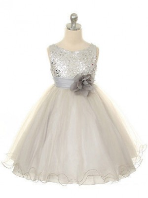 Ball Gown Jewel Hand-Made Flower Long Tulle Dress