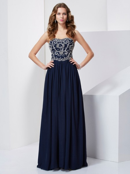 A-Line/Princess Strapless Beading Dress with Chiffon