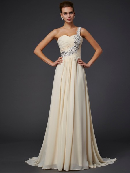 A-Line/Princess One-Shoulder Beading Applique Dress with Chiffon