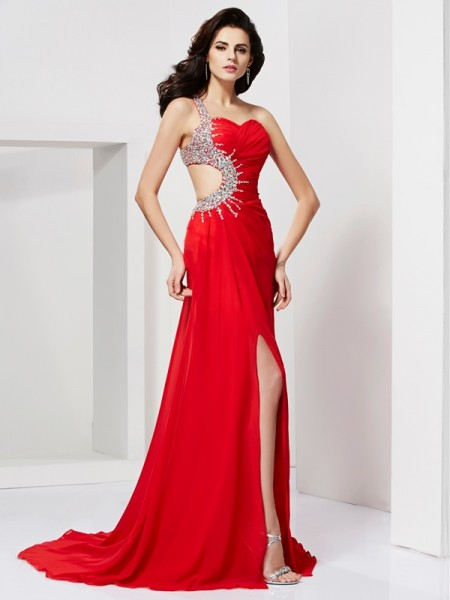 Trumpet/Mermaid Sweetheart Pleats Beading Dress with Chiffon