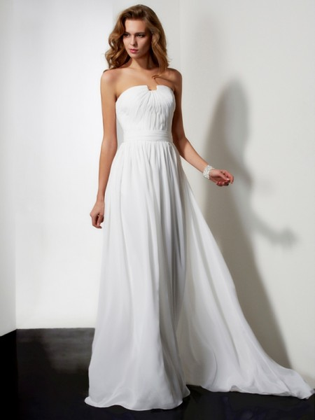 A-Line/Princess Strapless Pleats Ruffles Dress with Long Chiffon