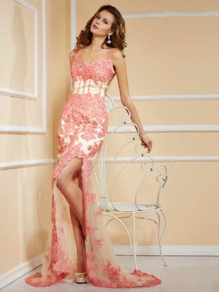Sheath/Column Straps Applique Long Net Dress