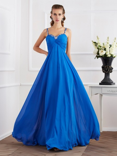 A-Line/Princess Spaghetti Straps Beading Applique Dress with Long Chiffon