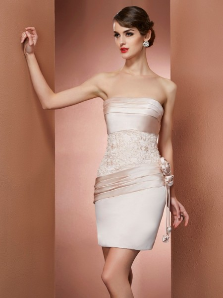 Sheath/Column Strapless Short Satin Homecoming Dress
