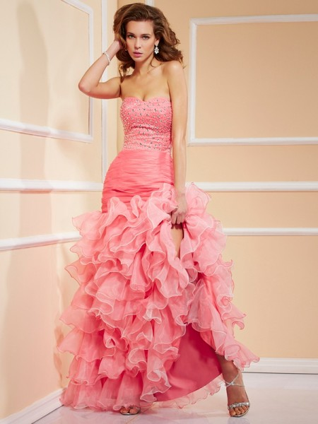 Trumpet/Mermaid Sweetheart Ruffles High Low Organza Dress