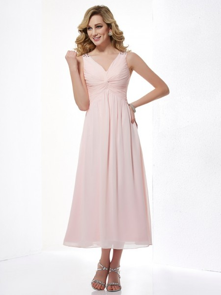 A-Line/Princess V-neck Pleats Short Chiffon Dress