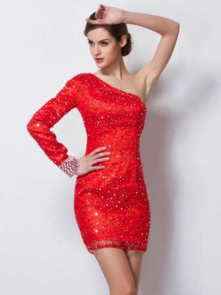 Sheath/Column One-Shoulder Long Sleeves Beading Short Elastic Woven Satin Homecoming Dress