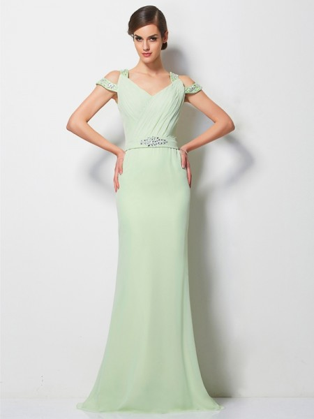 A-Line/Princess V-neck Beading Dress with Long Chiffon