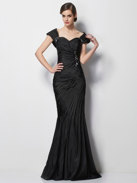 Trumpet/Mermaid Sweetheart Short Sleeves Beading Long Taffeta Mother of the Bride Dress