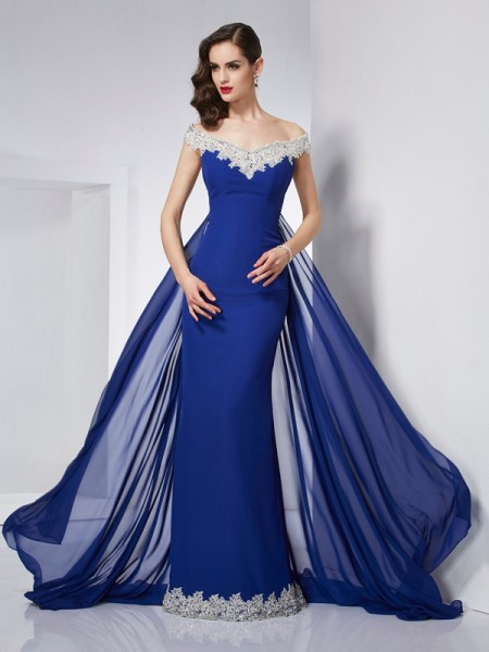 Trumpet/Mermaid Off the Shoulder Applique Dress with Long Chiffon
