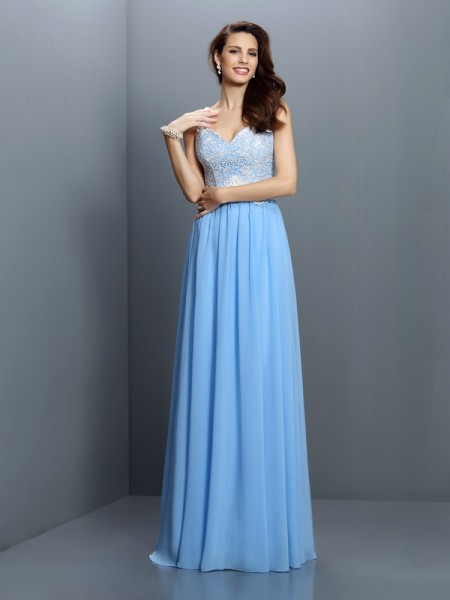 A-Line/Princess V-neck Lace Bridesmaid Dress with Long Chiffon