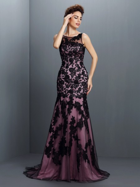 Trumpet/Mermaid Bateau Applique Long Elastic Woven Satin Dress