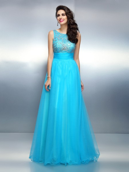 A-Line/Princess Bateau Beading Long Elastic Woven Satin Dress