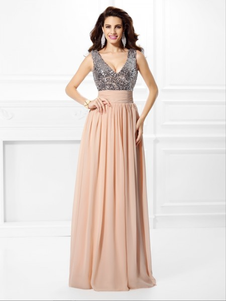 A-Line/Princess V-neck Paillette Dress with Long Chiffon