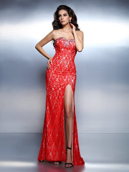 Trumpet/Mermaid Sweetheart Beading Long Lace Dress