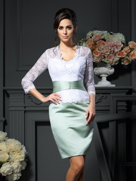 Sheath/Column V-neck Lace 1/2 Sleeves Short Satin Mother of the Bride Dress