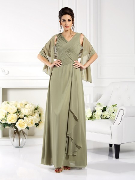 A-Line/Princess V-neck Pleats Mother of the Bride Dress with Long Chiffon