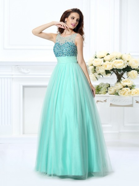 Ball Gown Bateau Beading Quinceanera Dress with Long Chiffon